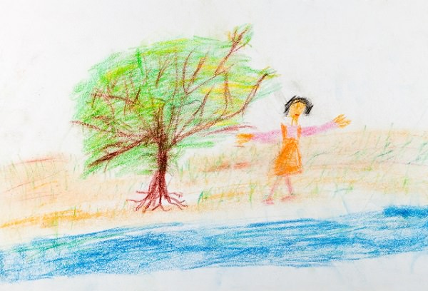childs drawing - merry girl near river in garden